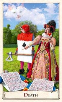 """Tarotkaart """"De Dood"""" (uit het tarotdeck """"Alice in Wonderland"""")"""