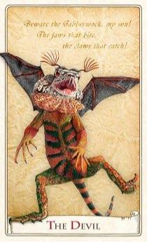 """Tarotkaart """"De Duivel"""" (uit het tarotdeck """"Alice in Wonderland"""")"""