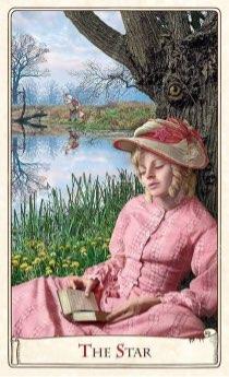 """Tarotkaart """"De Ster"""" (uit het tarotdeck """"Alice in Wonderland"""")"""