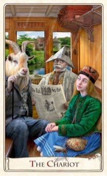 """Tarotkaart """"De Zegewagen"""" (uit het tarotdeck """"Alice in Wonderland"""")"""