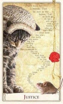 """Tarotkaart """"Gerechtigheid"""" (uit het tarotdeck """"Alice in Wonderland"""")"""