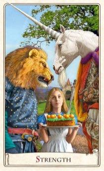 """Tarotkaart """"Kracht"""" (uit het tarotdeck """"Alice in Wonderland"""")"""
