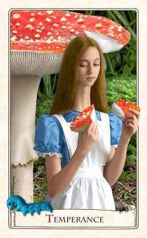 """Tarotkaart """"Matigheid"""" (uit het tarotdeck """"Alice in Wonderland"""")"""