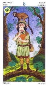 Tarotkaart 'Acht van Pentagrammen'