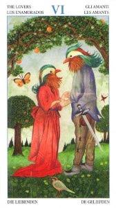 """Tarotkaart """"De Geliefden"""" (uit het tarotdeck """"Heren der Beesten"""")"""