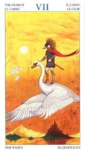 """Tarotkaart """"De Zegewagen"""" (uit het tarotdeck """"Heren der Beesten"""")"""