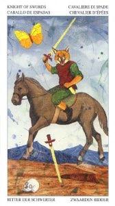 Tarotkaart 'Ridder van Zwaarden'