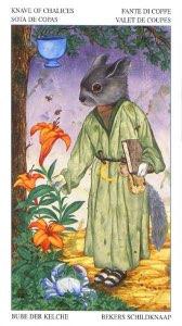 Tarotkaart 'Schildknaap van Kelken'