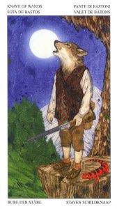 Tarotkaart 'Schildknaap van Staven'
