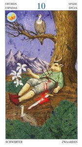 Tarotkaart 'Tien van Zwaarden'