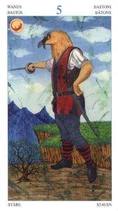 Tarotkaart 'Vijf van Staven'