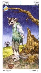 Tarotkaart 'Vijf van Zwaarden'