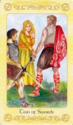 Tarotkaart 'Twee van Zwaarden'