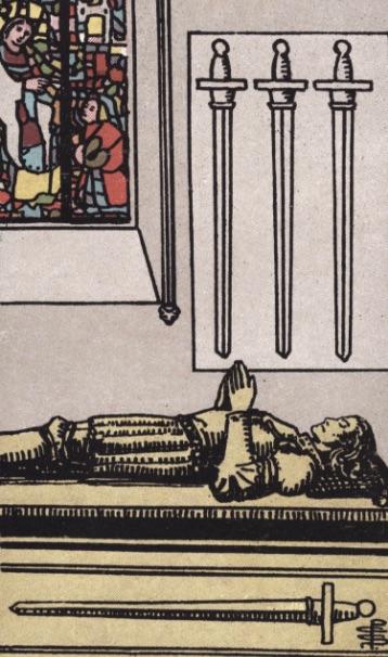 """Tarotkaart """"Vier van Zwaarden"""""""