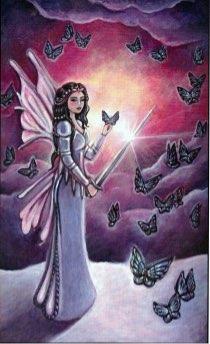 Tarotkaart 'Koningin van Zwaarden'