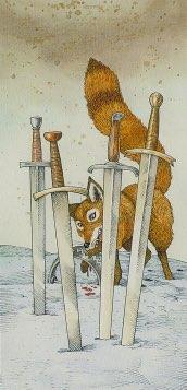 Tarotkaart 'Vier van Zwaarden'
