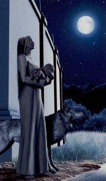 """Tarotkaart """"De Maan"""" (uit het tarotdeck """"Elves"""")"""