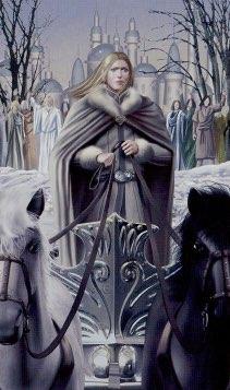 """Tarotkaart """"De Zegewagen"""" (uit het tarotdeck """"Elves"""")"""