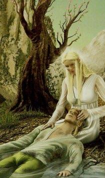 """Tarotkaart """"Matigheid"""" (uit het tarotdeck """"Elves"""")"""