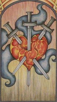 Tarotkaart 'Drie van Zwaarden'