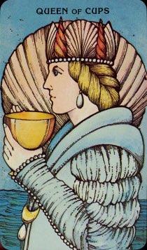 Tarotkaart 'Koningin van Kelken'