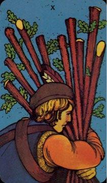 Tarotkaart 'Tien van Staven'