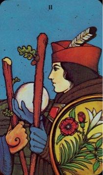 Tarotkaart 'Twee van Staven'