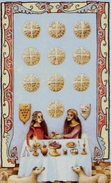 Tarotkaart 'Tien van Pentagrammen'