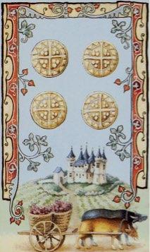 Tarotkaart 'Vier van Pentagrammen'