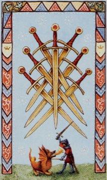 Tarotkaart 'Zeven van Zwaarden'