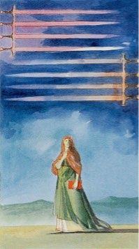 Tarotkaart 'Acht van Zwaarden'