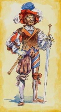 Tarotkaart 'Schildknaap van Zwaarden'