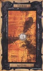 Tarotkaart 'Drie van Pentagrammen'